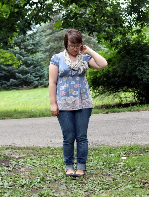 patterned top, scarf, polka dot jeans, flats