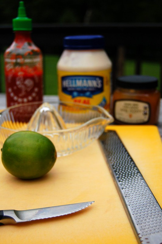 Ingredients for sriracha, lime, honey mayonnaise sauce by Eve Fox, The Garden of Eating, copyright 2014