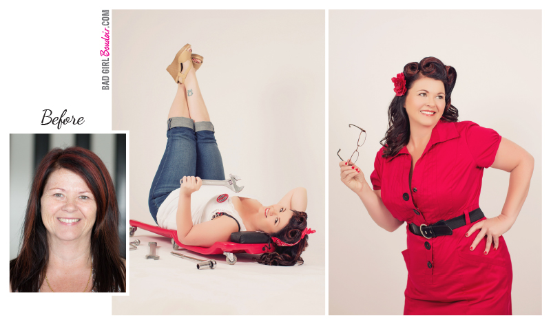 Pinup girl before and after makeover, south florida pinup