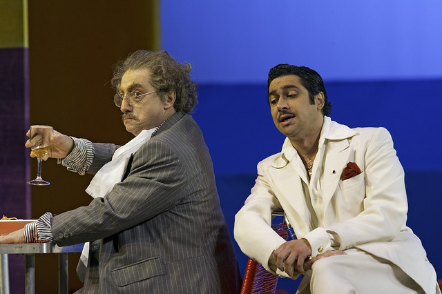Alessandro Corbelli and lldebrando D'Arcangelo in Il turco in Italia, The Royal Opera © ROH/Clive Barda, 2010