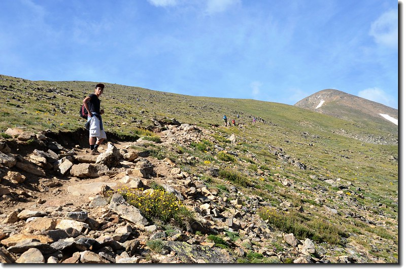 Leave the trees at 12,000' and hike up an easy slope below the ridge