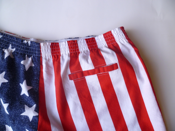 Patriotic American Flag Prefontaine Shorts - pocket close up by Hey, It's SJ