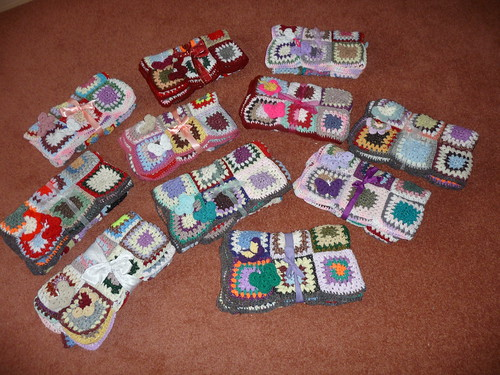 11 'Sunshine Blanket's from the Axa Purls Knitting Group. Many thanks to you all!