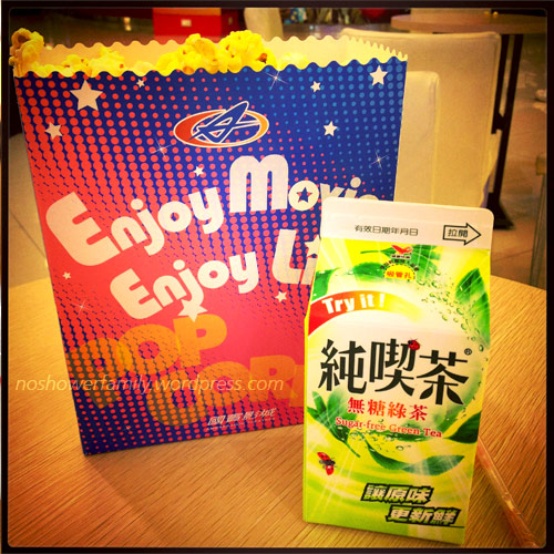 popcorn, green tea