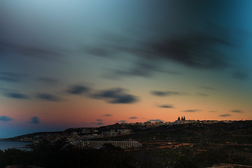 longexposure mellieha malta nightshot view clouds sky