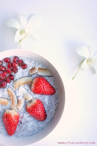Chia seed pudding recipe with lilies by little luxury list