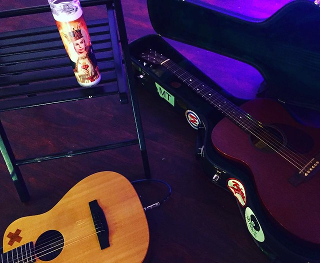 Martin guitar: check. Little Martin guitar: check. Lady Gaga saint candle: check. How can I lose at this gig? @lemon_atx 8 PM!
