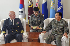 Adm. Scott Swift speaks with Republic of Korea Vice Adm. Lee, Beom-Rim, vice chairman of the joint chiefs of staff, April 4 in Seoul. (U.S. Navy/MC2 Jermaine Ralliford)