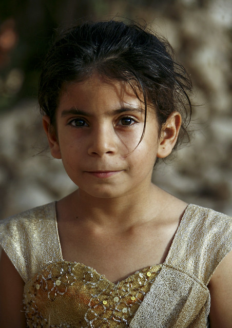 Portrait Of A Yemeni Girl With Goldy Heart Shaped Dress, Yemen