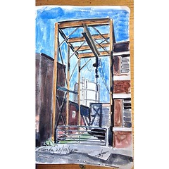 Tue 25 March's sketch of the day is an old gantry at a factory near the studio.