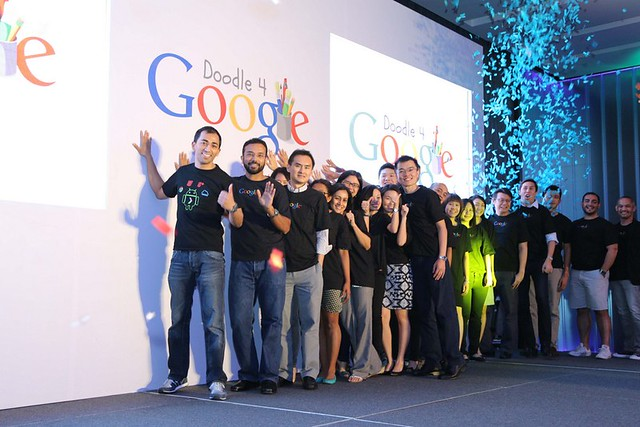 Googlers pressing the launch button at D4G