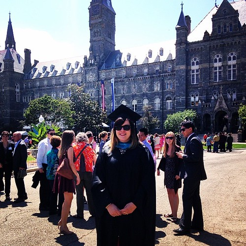 #hoyas2014 @lolabolt is benefiting from my years of experience dressing people in regalia.
