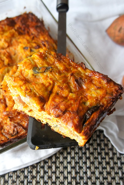 Sweet potato and bacon frittata slice