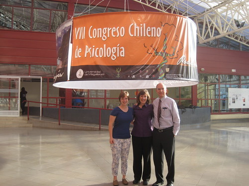 David Bergin with his daughter, Leigh, and wife, Christi, at a conference at the University of Magallanes (Magellan) in Punta Arenas, the southernmost major mainland city in South America.