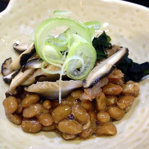 Ume Natto at Katsuya. Fermented soybeans with sour plum