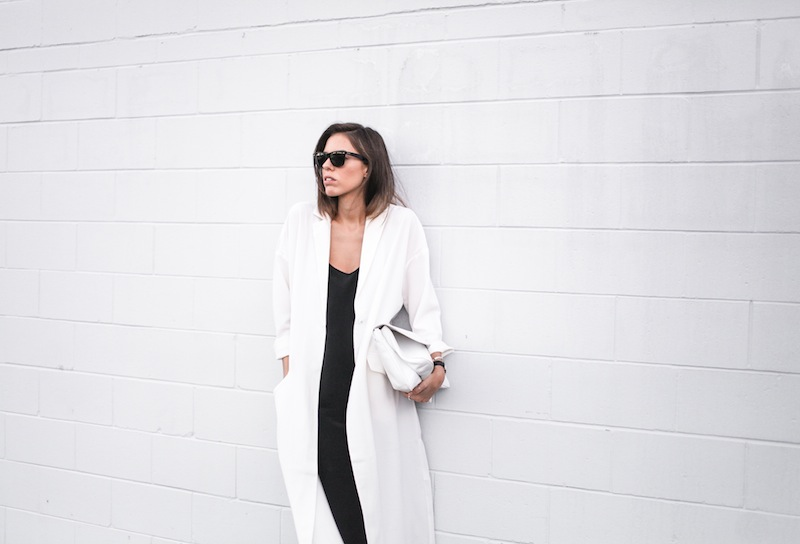 modern legacy blog street style off duty ASOS Duster Coat Common Projects slide sandals Topshop Boutique midi silk cami dress Zara leather clutch monochrome black white blogger balayage hair tuck oversized minimalist (6 of 8)