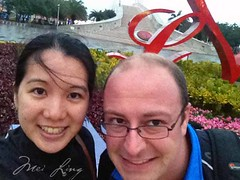 Dan and Mei selfie in front of the bridge