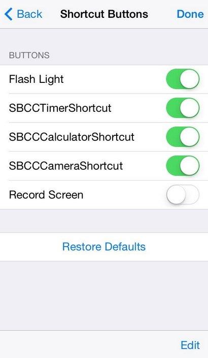 Control Center в iOS 8
