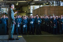 Adm. Harry B. Harris, Jr., addresses Sailors aboard USS John C. Stennis (CVN 74), May 19.  (U.S. Navy/MC3 Patrick Enright)