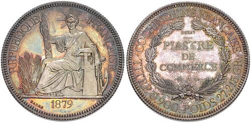 French Cochinchina 1879 Essai – Piastre de Commerce