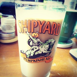 Lazy Sunday morning #icedcoffee in a favorite glass #shipyard #pumpkinhead #coffee Would be more appropriate if it were a #MoatMountain glass today...