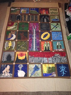 Lotr top assembled for the Tolkien quilt