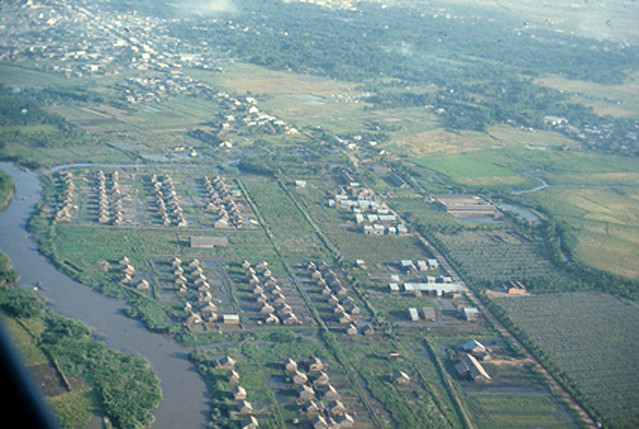 1966 - Aerial view of Vietnamese town