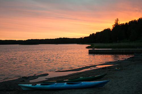sunset lake finland kayak aland