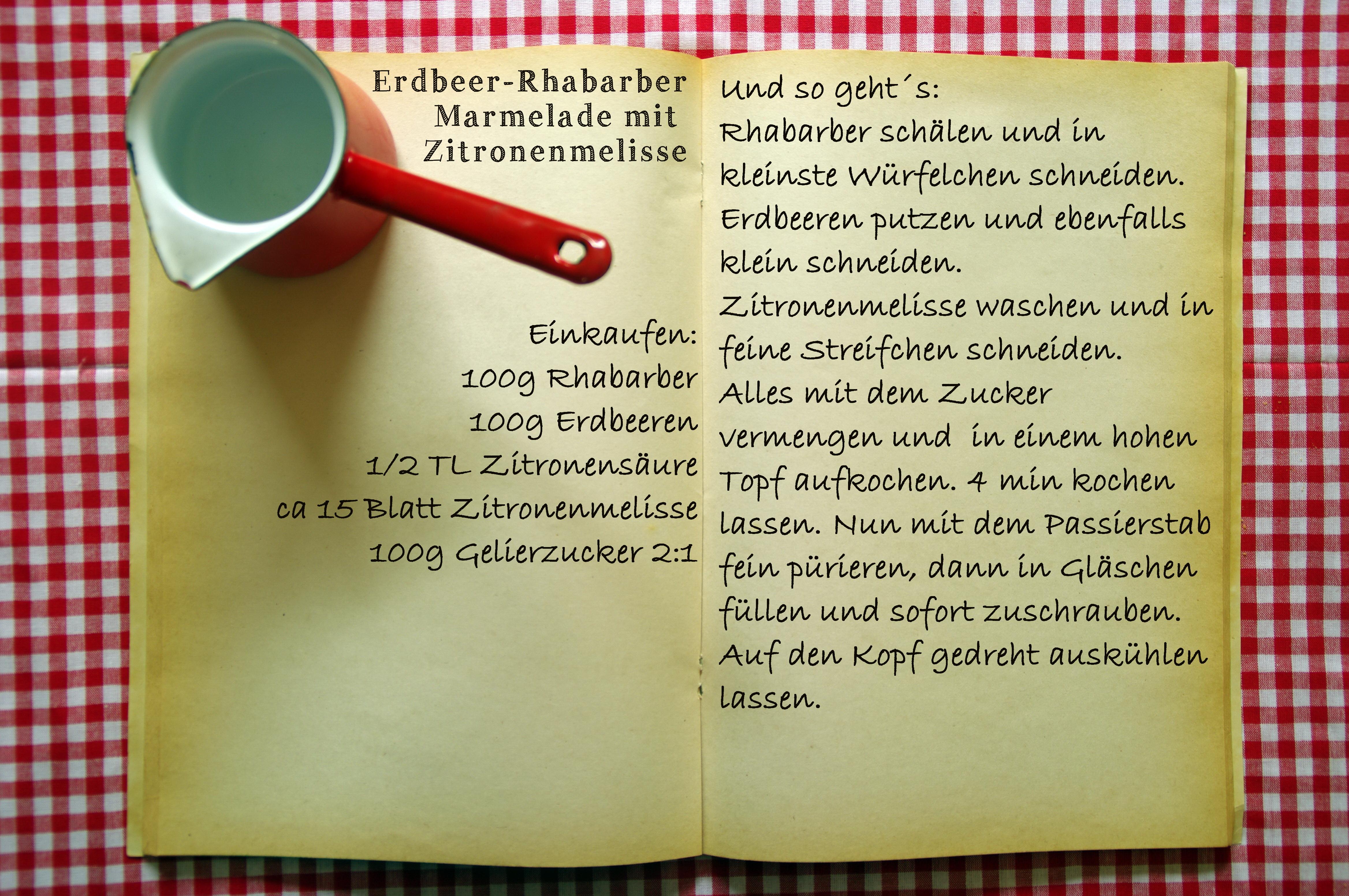 Einkaufszettel Rhabarber Erdbeer Melisse Marmelade by Glasgefluester