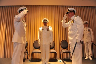 Presided by Rear Adm. Michael J. Haycock, assistant commandant for engineering and logistics, Coast Guard Capt. George G. Bonner relieved Rear Adm. James M. Heinz during a change of command ceremony Thursday, June 12 at Norfolk, Va. The change of command ceremony is a time-honored tradition, which formally restates the continuity of command will be maintained and is a formal ritual conducted before the assembled company of command. (U.S. Coast Guard photo by Senior Chief Petty Officer Sarah B. Foster)