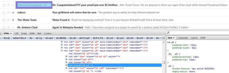Gmail Spam Box Uses Table for Layout Purposes
