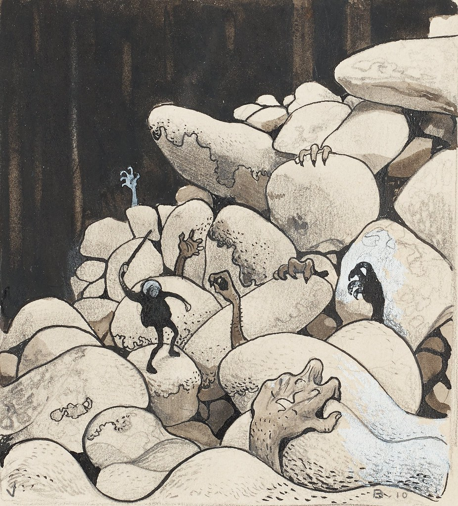 JOHN BAUER, Trolls amongst the stones.