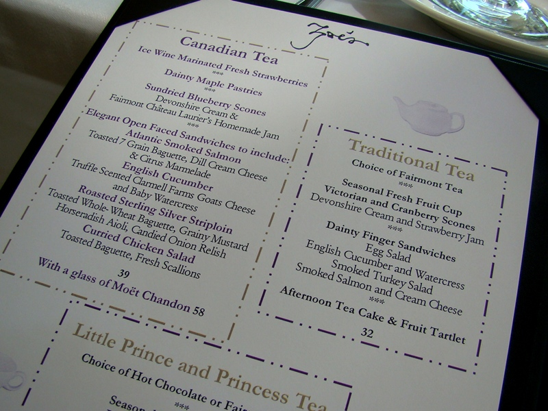Afternoon Tea menu Zoes Lounge