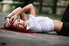 Street Photography - Model lying on Street