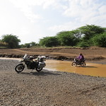 These little 150cc motorcycles are ideal for the challenging terrain, near  Logumgum, Kenya.
