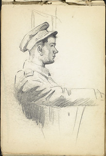 Profile drawing of a soldier with his arm extended [Sketchbook 5, folio 5.16r] / Dessin de profil d'un soldat avec un bras allongé [Carnet de croquis 5, folio 16r]