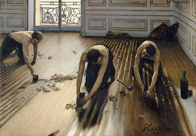 ギュスターヴ・カイユボット 《床に鉋(かんな)をかける人々》