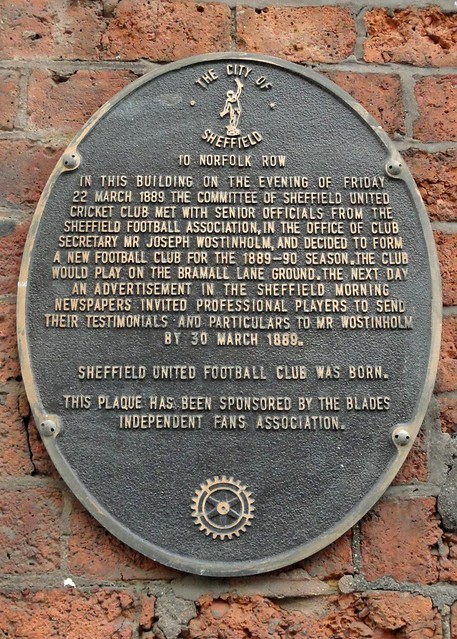 Photo of Sheffield United Football Club brown plaque