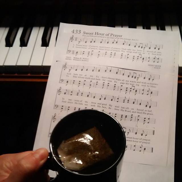 Waiting for my cup of tea, I worked on the music theory behind Sweet Hour of Prayer... When the beauty of the moment struck me...