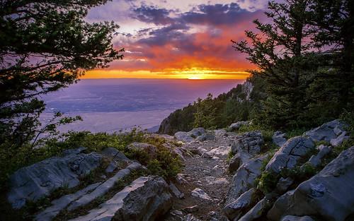 sunset sky mountain newmexico clouds forest landscape desert cloudy albuquerque rockymountains nm sandia