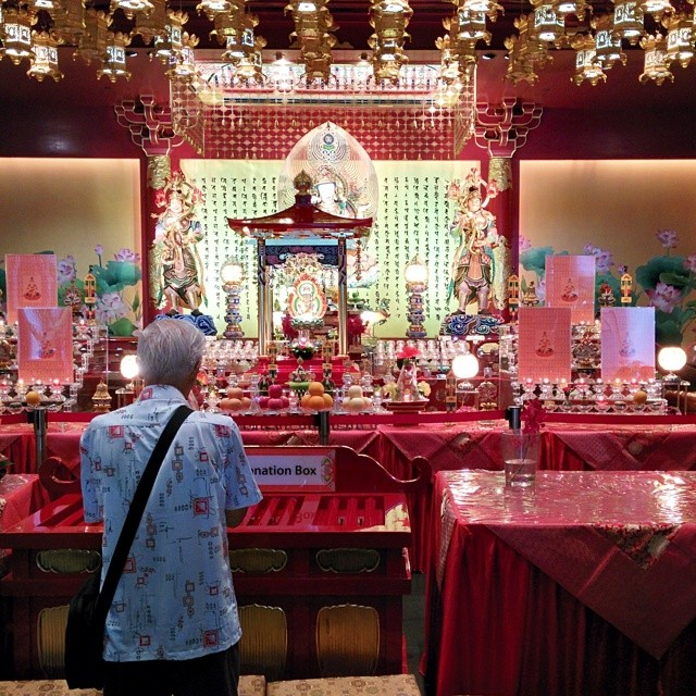 Visiting the Temple in Chinatown, Singapore.