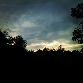 Cool looking sky after some showers #sky #clouds #trees #scenic #newhampshire #summer #sunset #newengland