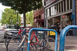 21460 Espresso 9 - bike corral outside Stumptown Coffee Roasters, downtown on SW 3rd Ave