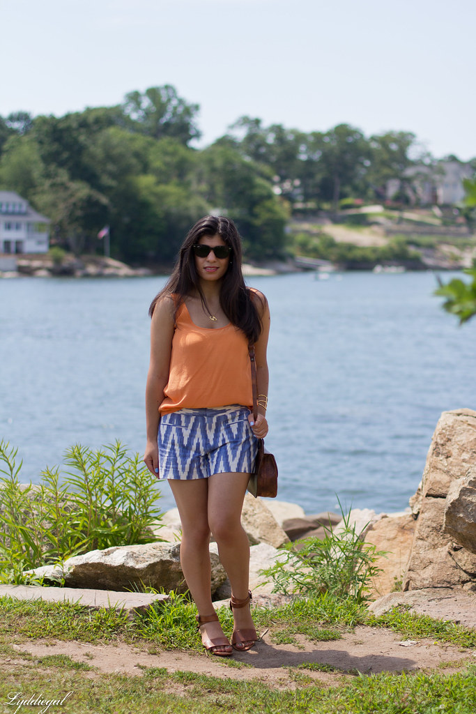 orange tank, ikat print shorts, belcho jewels.jpg