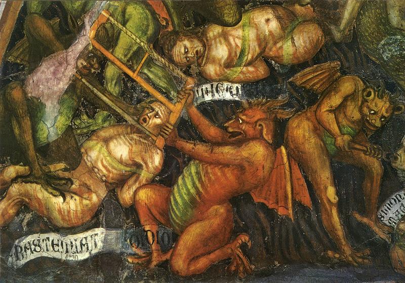 Taddeo di Bartolo - El Juicio Final (detalle de orgullo) c.1394