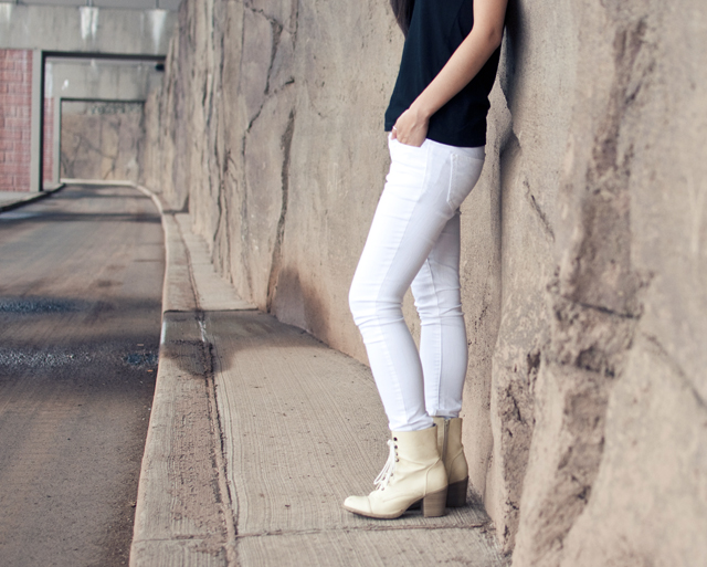 white denim, fashion, personal style, outfit of the day, white denim pants, lace up booties, black vneck, summer fashion, casual outfit