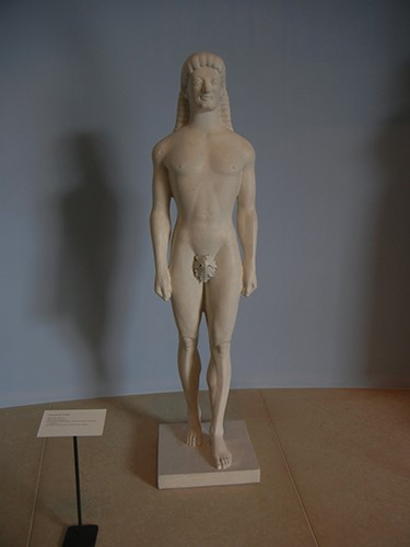 DSCN1400 _ Kouros (from Tenea), Anonymous, Greek, mid-6th cen. BCE, 19th cen. reproduction, Blanton Museum
