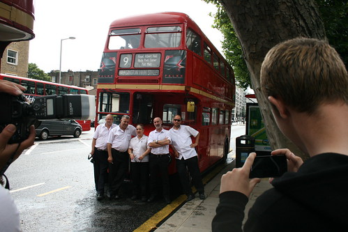 Tower Transit Staff in front of RM1627, Kensington Holland Road - Last Day of Routemasters on Route 9H