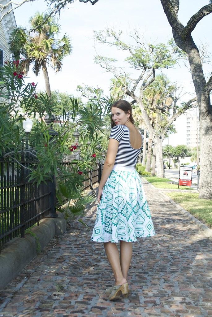 Mood Fabrics Geometric Embroidered Linen Skirt