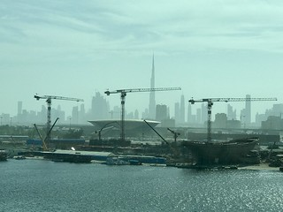 Construction in front of the tallest building in the world in Dubai